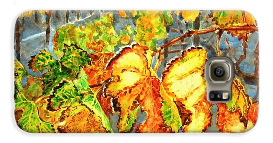 Vineyard Galaxy S6 Case featuring the painting After The Harvest by Karen Ilari
