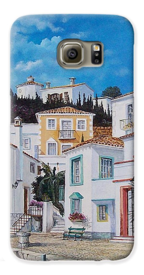 Cityscape Galaxy S6 Case featuring the painting Afternoon Light In Montenegro by Sinisa Saratlic