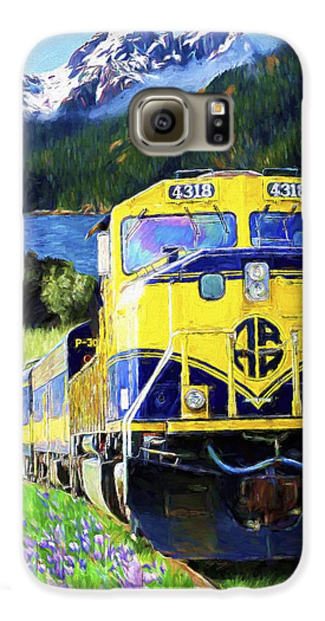 Railroad Galaxy S6 Case featuring the painting Alaska Railroad by David Wagner