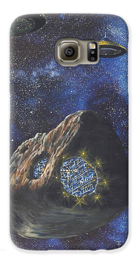 Painting Galaxy S6 Case featuring the painting Alien Space Factory by Murphy Elliott