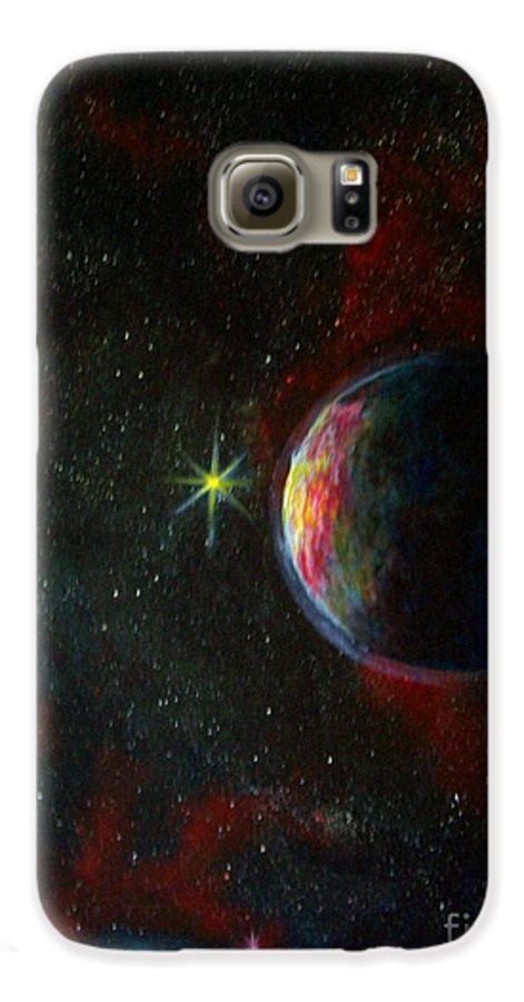 Cosmos Galaxy S6 Case featuring the painting Alien Worlds by Murphy Elliott