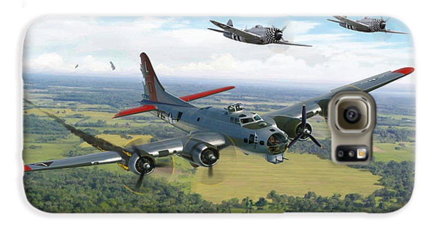 Airplane Galaxy S6 Case featuring the painting Almost Home B-17 Flying Fortress by Mark Karvon