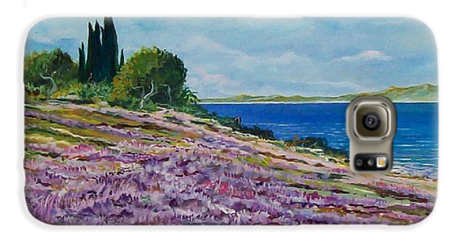 Landscape Galaxy S6 Case featuring the painting Along The Shore by Sinisa Saratlic