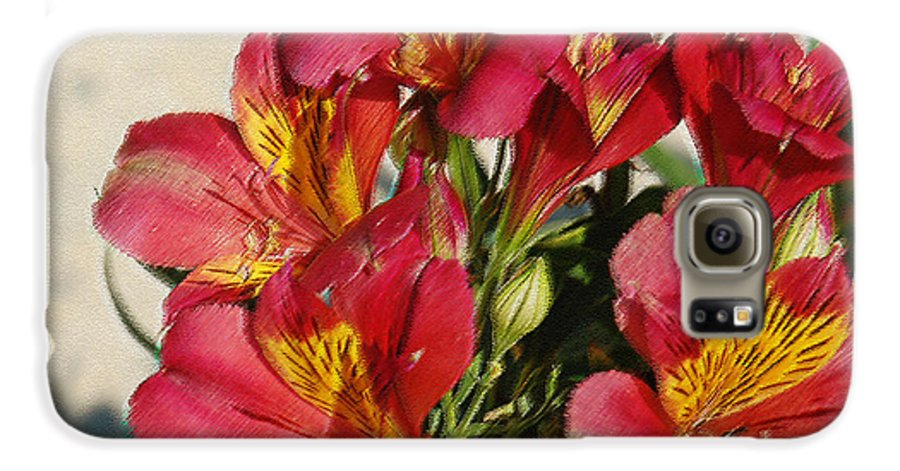 Alstroemeria Galaxy S6 Case featuring the photograph Alstroemeria In Pastel by Suzanne Gaff