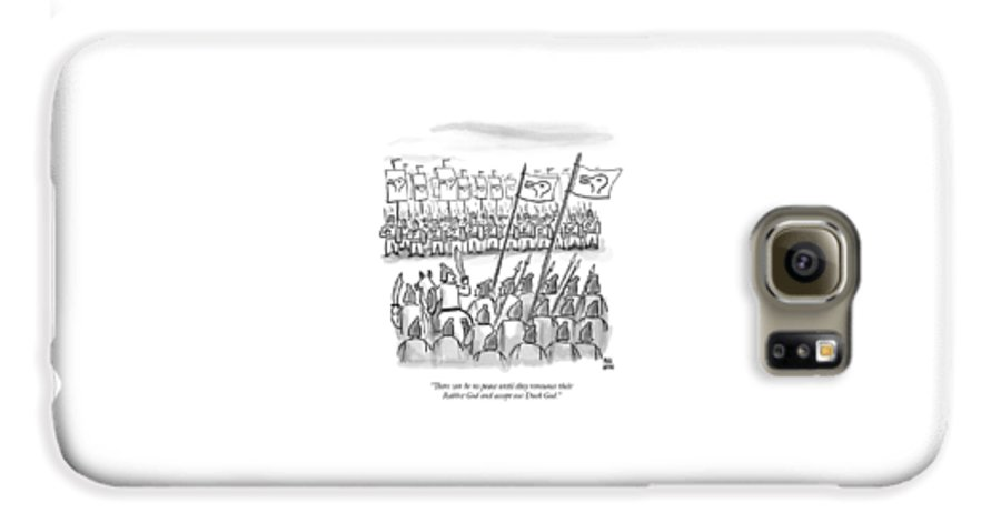 War Galaxy S6 Case featuring the drawing An Army Lines Up For Battle by Paul Noth