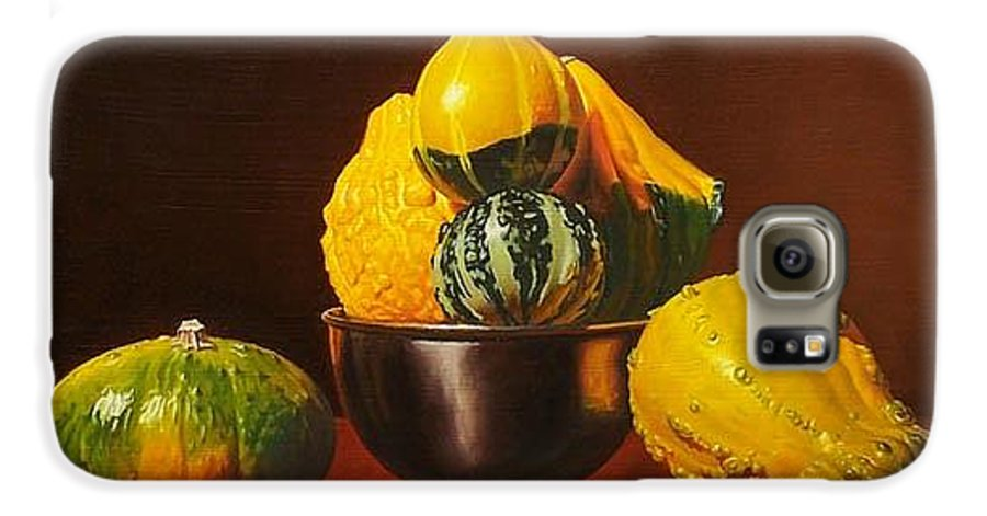 Still Life Galaxy S6 Case featuring the painting An Arrangement Of Gourds by Gary Hernandez