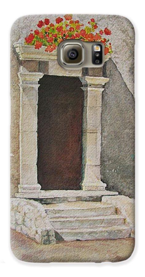 Antique Doorway Galaxy S6 Case featuring the painting Ancient Doorway by Mary Ellen Mueller Legault