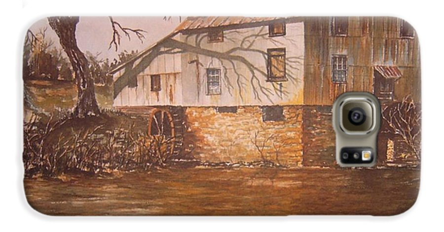 Landscape Galaxy S6 Case featuring the painting Anderson Mill by Ben Kiger