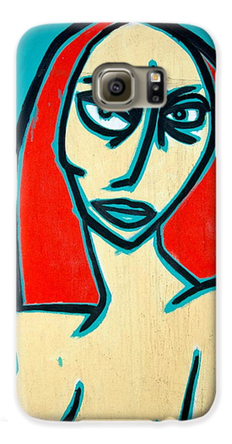 Oil Galaxy S6 Case featuring the painting Angry Jen by Thomas Valentine