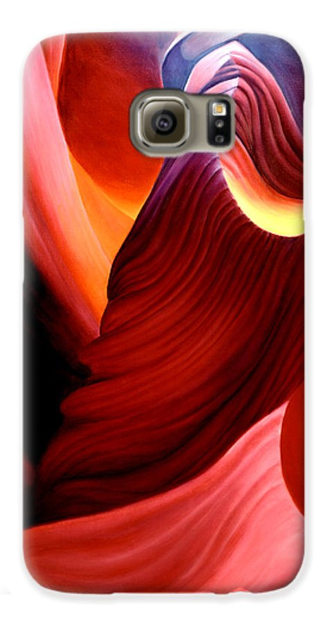 Antelope Canyon Galaxy S6 Case featuring the painting Antelope Magic by Anni Adkins