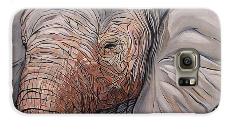 Elephant Bull Painting Galaxy S6 Case featuring the painting Are You There by Aimee Vance