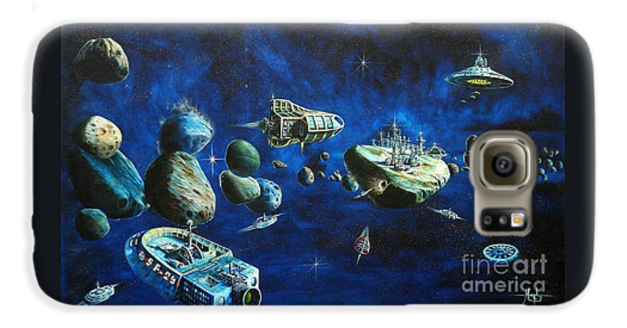 Fantasy Galaxy S6 Case featuring the painting Asteroid City by Murphy Elliott