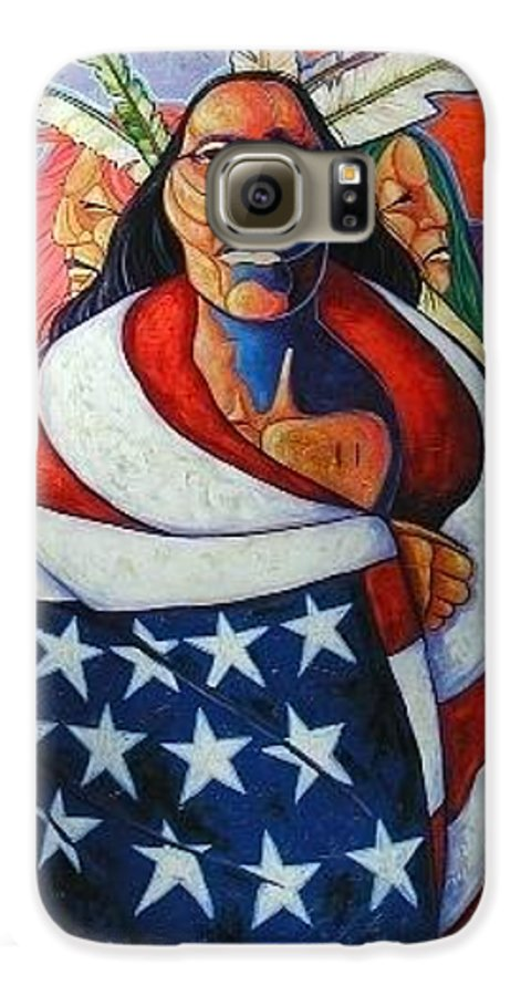 American Indian Galaxy S6 Case featuring the painting At The Crossroads by Joe Triano
