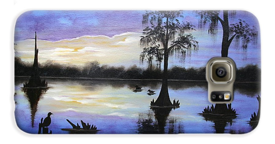 Seascape Galaxy S6 Case featuring the painting Atchafalya Sunrise by Ruth Bares