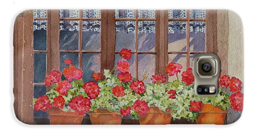 Watercolor Galaxy S6 Case featuring the painting August At The Auberge by Mary Ellen Mueller Legault