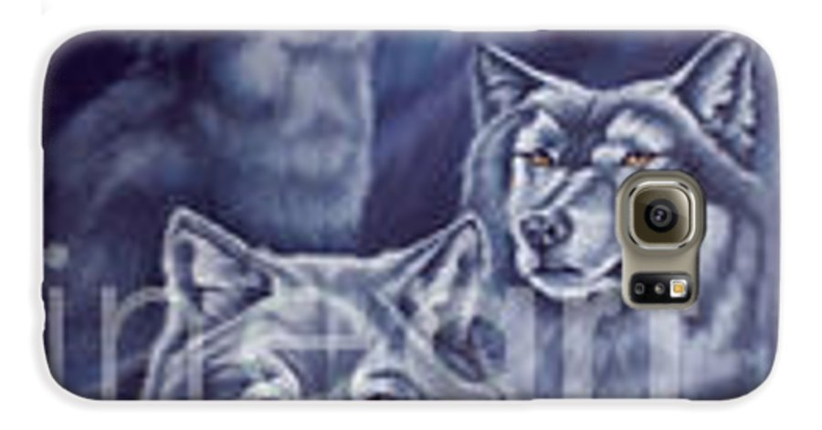 Wolf Galaxy S6 Case featuring the painting Aurora Wolves by Wendy Froshay
