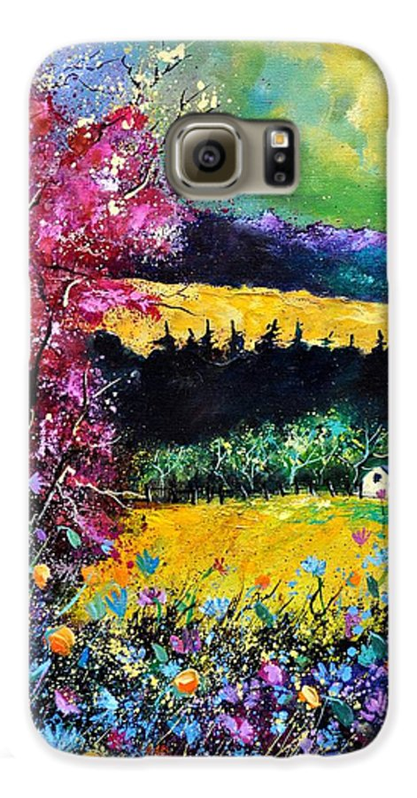 Landscape Galaxy S6 Case featuring the painting Autumn Flowers by Pol Ledent