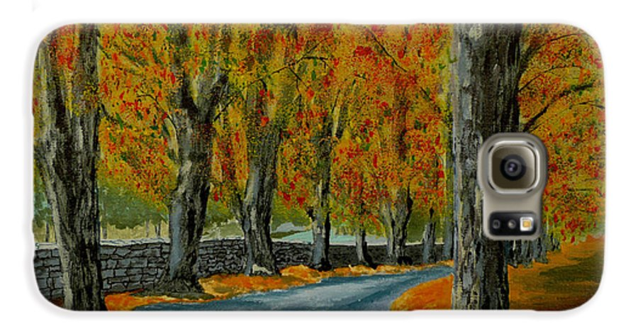 Autumn Galaxy S6 Case featuring the painting Autumn Pathway by Anthony Dunphy