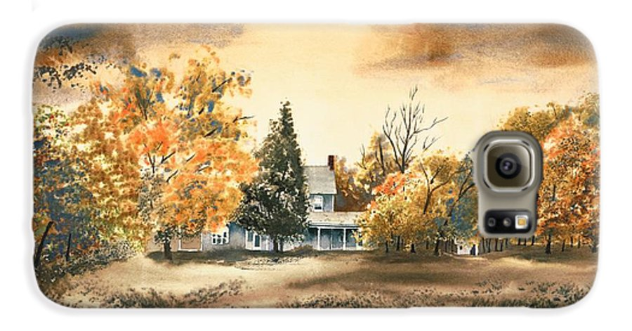 Autumn Sky No W103 Galaxy S6 Case featuring the painting Autumn Sky No W103 by Kip DeVore