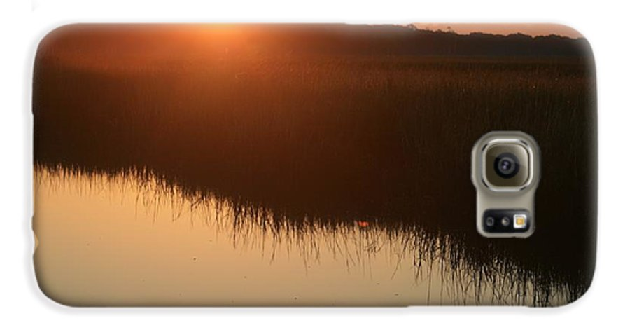 Sunrise Galaxy S6 Case featuring the photograph Autumn Sunrise Over The Marsh by Nadine Rippelmeyer
