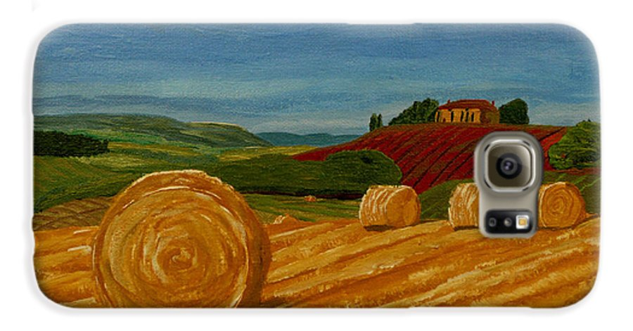 Hay Galaxy S6 Case featuring the painting Field Of Golden Hay by Anthony Dunphy