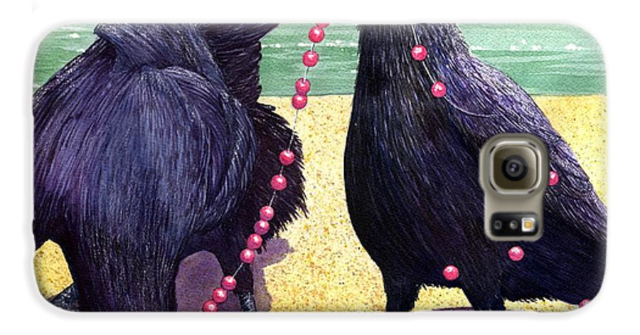 Raven Galaxy S6 Case featuring the painting Baubles by Catherine G McElroy