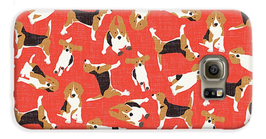 Beagle Galaxy S6 Case featuring the drawing Beagle Scatter Coral Red by MGL Meiklejohn Graphics Licensing
