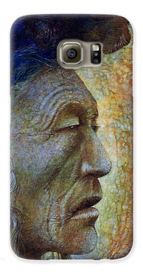 Bear Bull Galaxy S6 Case featuring the painting Bear Bull Shaman by Otto Rapp