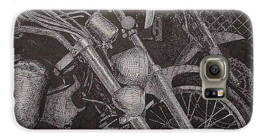 Motorcycles Galaxy S6 Case featuring the drawing Bikes by Denis Gloudeman