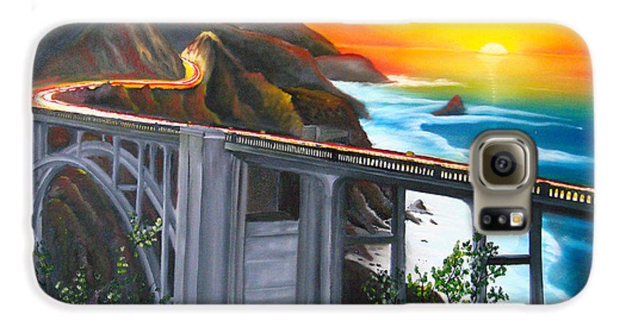 Beautiful California Sunset! Galaxy S6 Case featuring the painting Bixby Coastal Bridge Of California At Sunset by Portland Art Creations