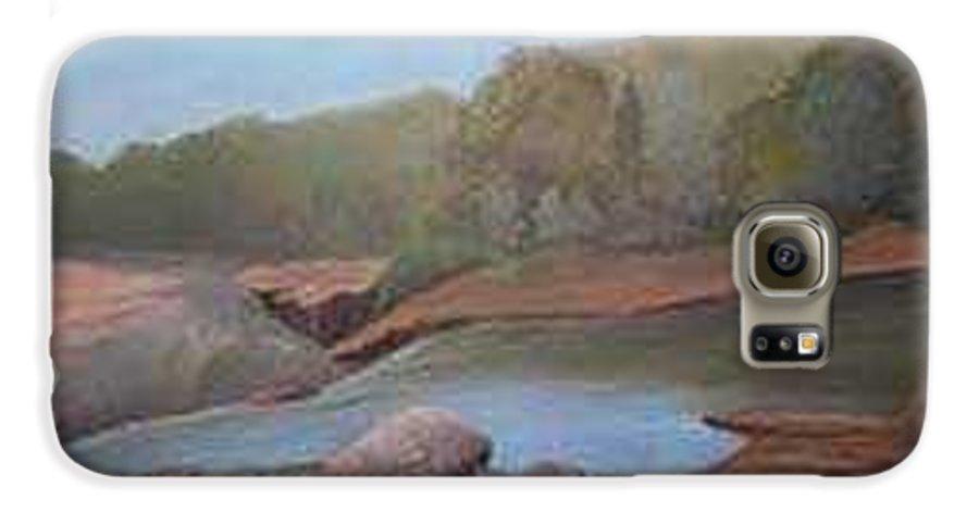 Rick Huotari Galaxy S6 Case featuring the painting Black River Falls by Rick Huotari