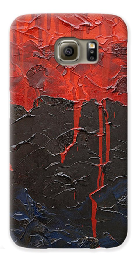Fantasy Galaxy S6 Case featuring the painting Bleeding Sky by Sergey Bezhinets