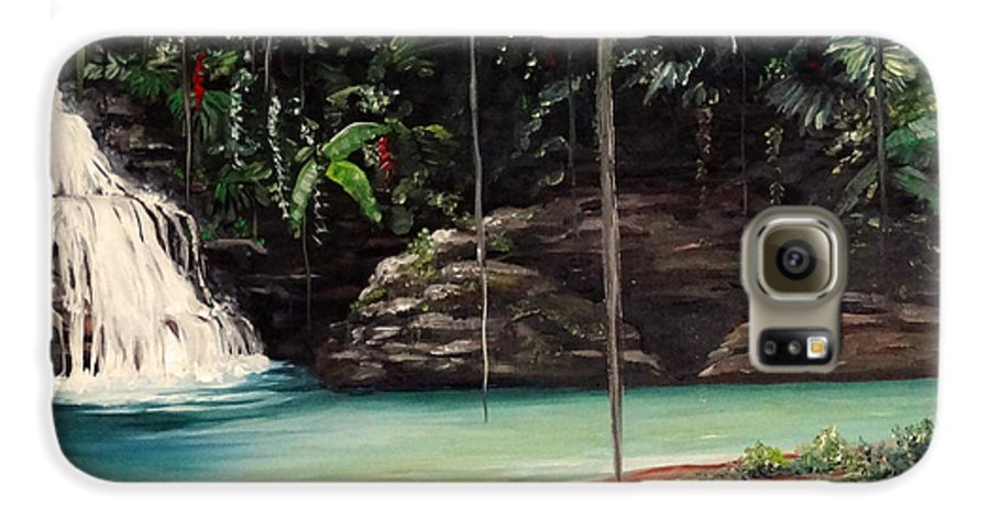 Tropical Waterfall Galaxy S6 Case featuring the painting Blue Basin by Karin Dawn Kelshall- Best