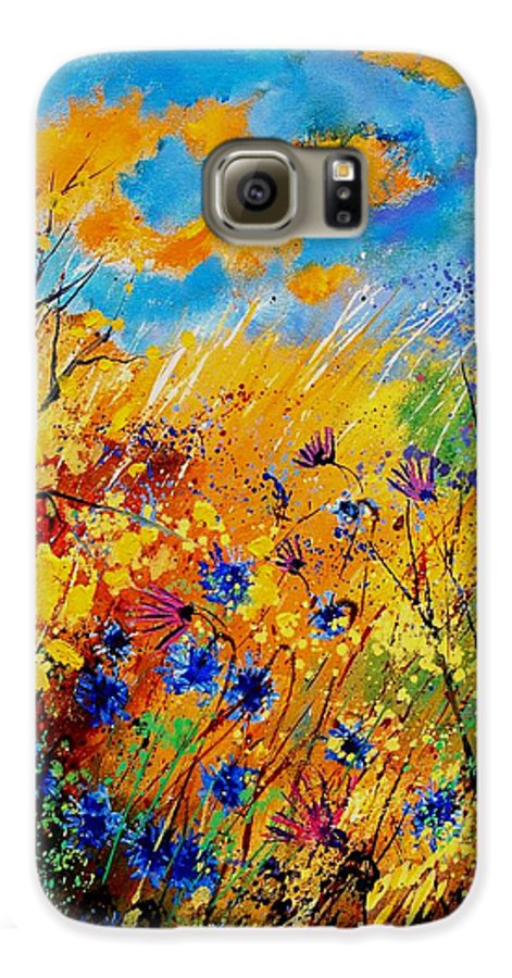 Poppies Galaxy S6 Case featuring the painting Blue Cornflowers 450408 by Pol Ledent