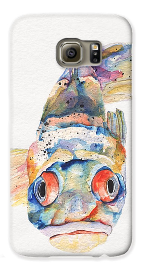 Pat Saunders-white Galaxy S6 Case featuring the painting Blue Fish  by Pat Saunders-White
