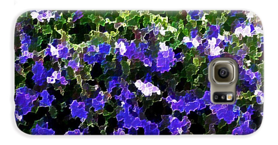 Blue.flowers.green Leaves.happiness.rest.pleasure.mosaic Galaxy S6 Case featuring the digital art Blue Flowers On Sun by Dr Loifer Vladimir