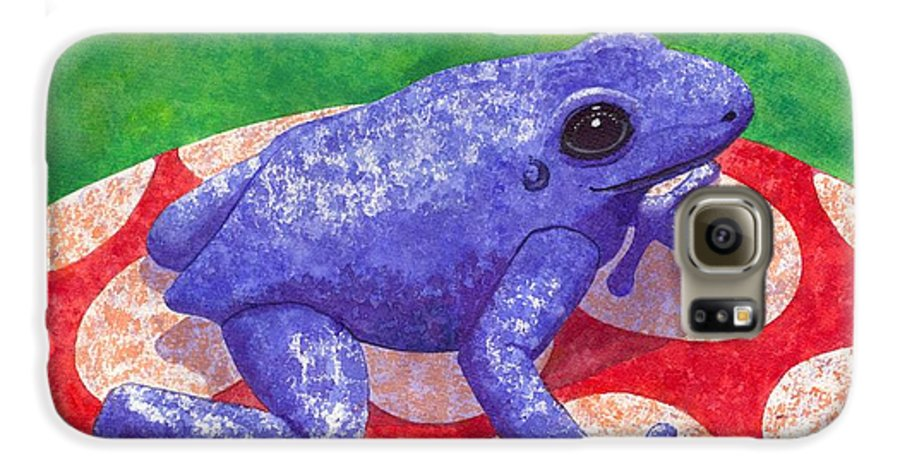 Frog Galaxy S6 Case featuring the painting Blue Frog by Catherine G McElroy