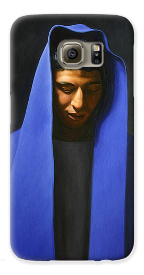 Blue Galaxy S6 Case featuring the painting Blue by Gary Hernandez