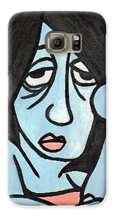 Portrait Galaxy S6 Case featuring the painting Blue by Thomas Valentine