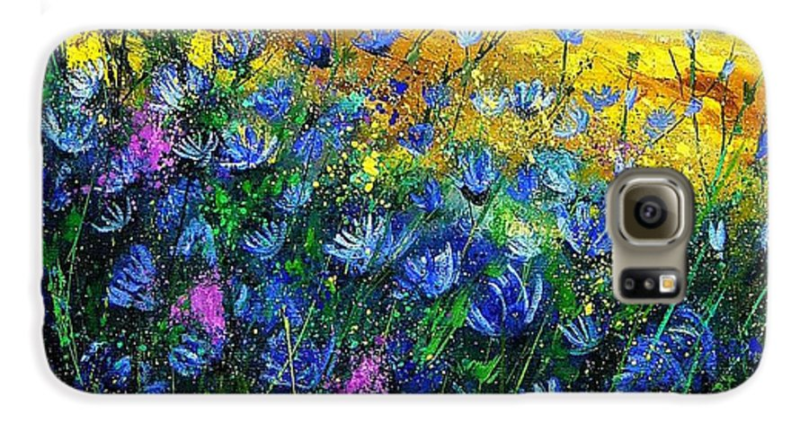 Flowers Galaxy S6 Case featuring the painting Blue Wild Chicorees by Pol Ledent