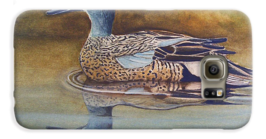 Rick Huotari Galaxy S6 Case featuring the painting Blue Winged Teal by Rick Huotari