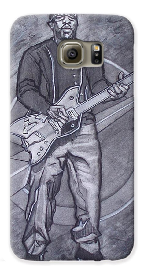 Texas;charcoal;king Of Rock;rock And Roll;music;1950s;blues;musician;funk;electric Guitar;marble;soul Galaxy S6 Case featuring the drawing Bo Diddley - Have Guitar Will Travel by Sean Connolly