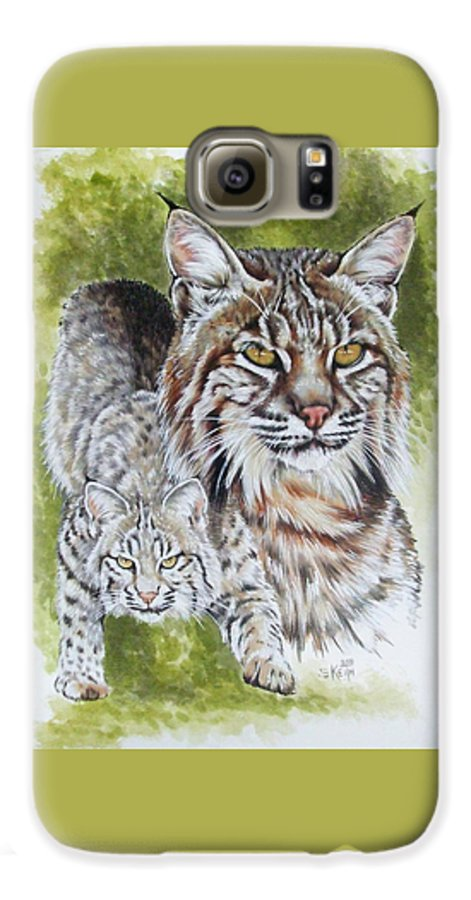 Small Cat Galaxy S6 Case featuring the mixed media Brassy by Barbara Keith