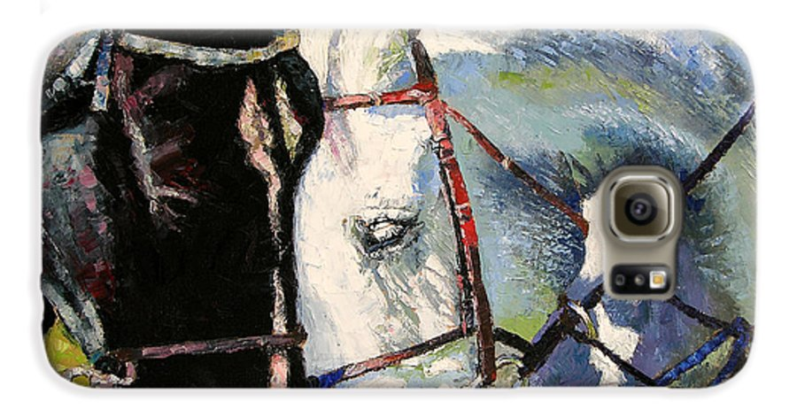 Horses Galaxy S6 Case featuring the painting Bridled Love by John Lautermilch