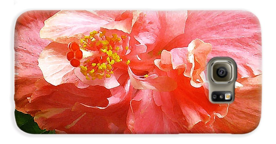 Hibiscus Galaxy S6 Case featuring the digital art Bright Pink Hibiscus by James Temple