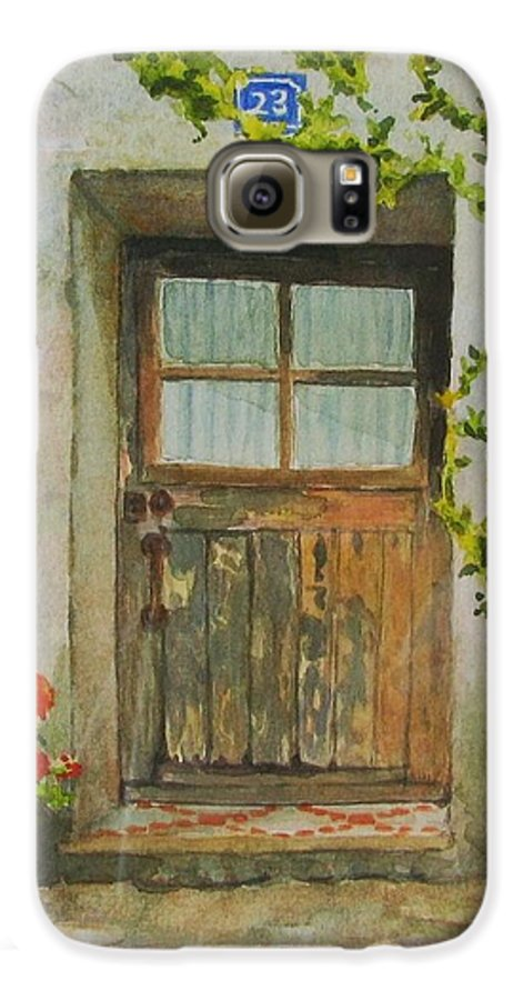 Door Galaxy S6 Case featuring the painting Brittany Door by Mary Ellen Mueller Legault