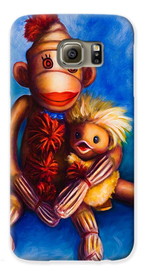 Sock Monkeys Brown Galaxy S6 Case featuring the painting Buddies by Shannon Grissom