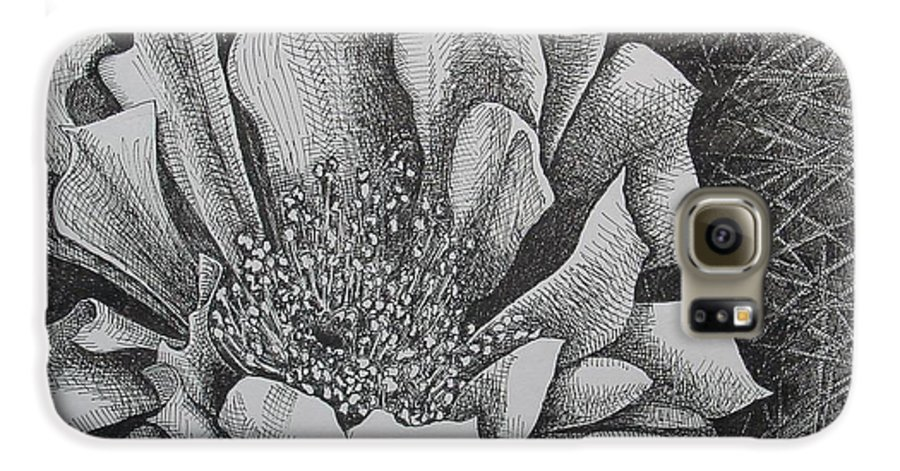 Flowers Galaxy S6 Case featuring the drawing Cactus Flower by Denis Gloudeman