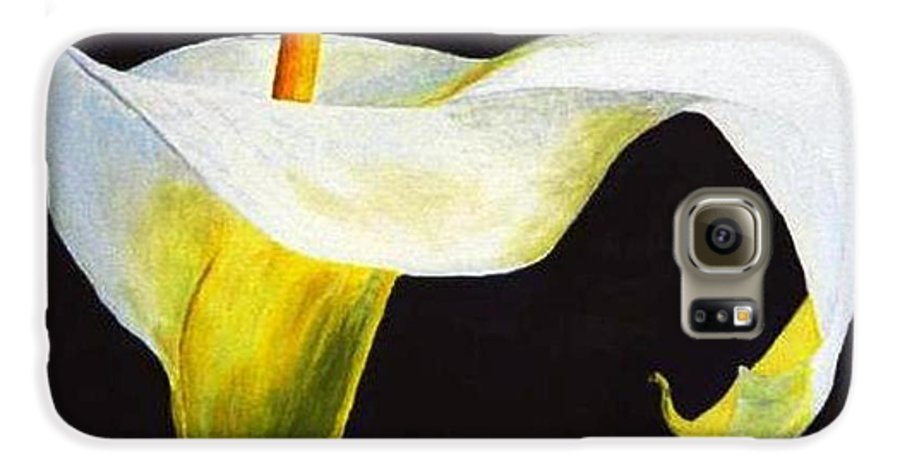 Close-up Galaxy S6 Case featuring the painting Calla Lily by Bruce Combs - REACH BEYOND