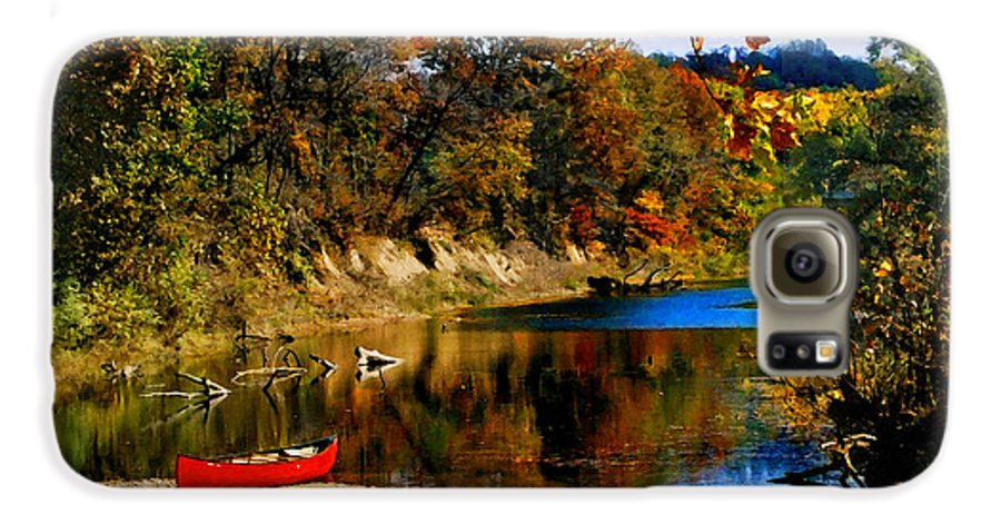 Autumn Galaxy S6 Case featuring the photograph Canoe On The Gasconade River by Steve Karol